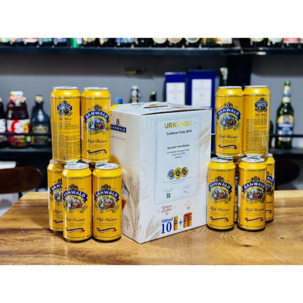 Hộp quà bia Sanwald vàng